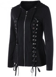 Steampunk, Rocker, Gothic Womens Black Hoodie Lace Up Jacket S to XL
