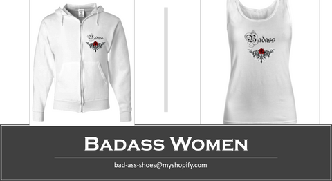 White Badass Zip Up Tatoo Hoodie and Matching Tanktop Sizes S-XXXL - Bad Ass Shoes