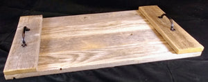 Rustic Serving Tray with Metal Handles and Reclaimed Wood