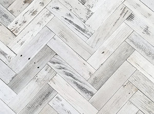 Vinta Wood™ Herringbone White Planks Permanent Peel and Stick 3""