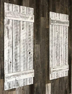 Shutters | Whitewashed Recycled Wood | 36 in | Rustic Decor