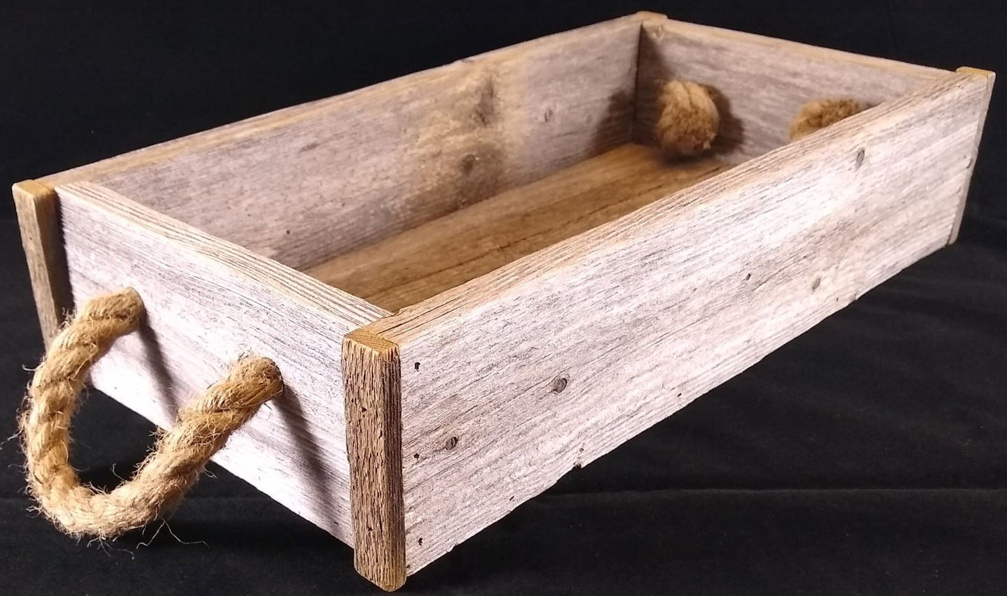 Tray - Rustic Wood Tray Made with Reclaimed Wood and Rope Handles