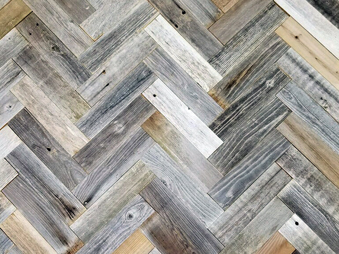 Vinta Wood™ Herringbone Planks Permanent Peel and Stick 3