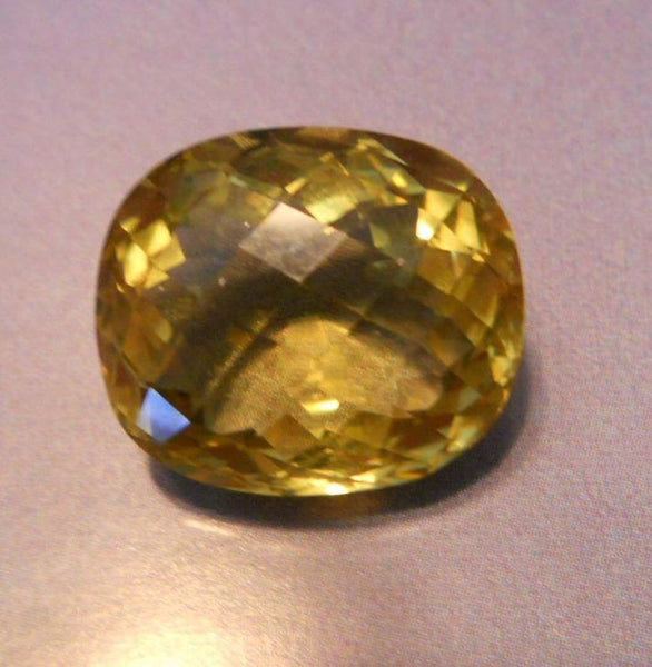 24.69 CTS. PINEAPPLE YELLOW FANCY CHECKERBOARD CUSHION CUT