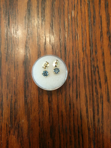 1.30tctw ALL NATURAL BLUE MONTANA SAPPHIRE EARRINGS IN 14K YELLOW GOLD - Blaze-N-Gems