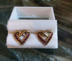 18 2mm RUBY HEART SHAPED EARINGS
