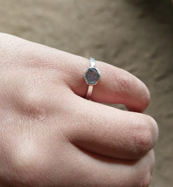 2ct BLUE ROUGH STERLING SILVER RING