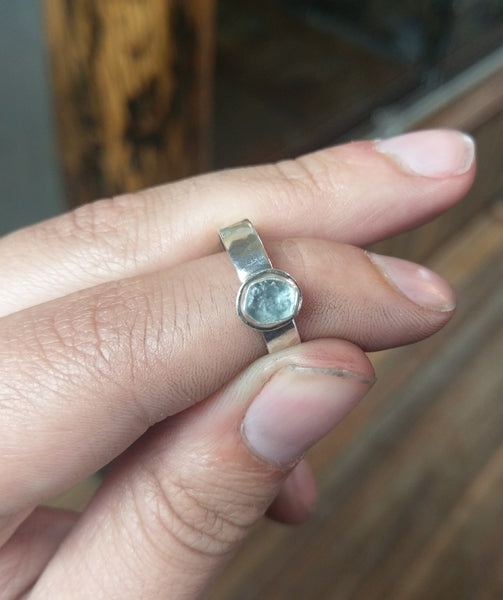 AWESOME LIGHT BLUE ROUGH MOBTANA SAPPHIRE RING SIZE 7