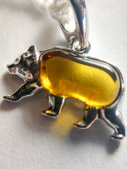 8.21ct AMBER BEAR PENDANT IN SILVER