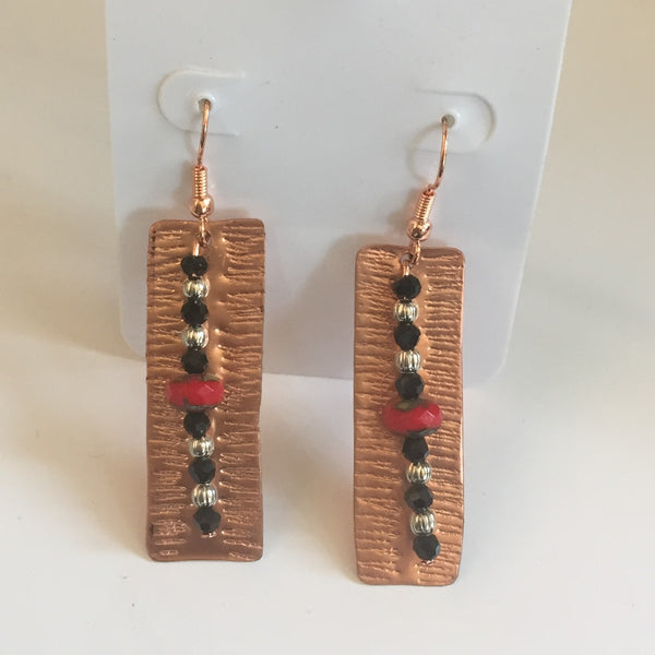 BEADED COPPER CUSTOM EARRINGS