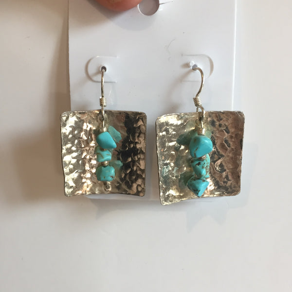 .925 STERLING SILVER EARRINGS WITH TURQUOISE - Blaze-N-Gems