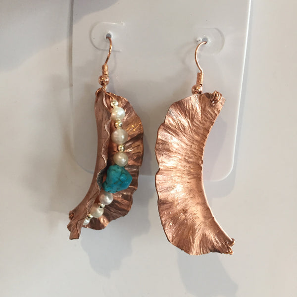 BEADED COPPER PEARL/TURQUOISE EARRINGS