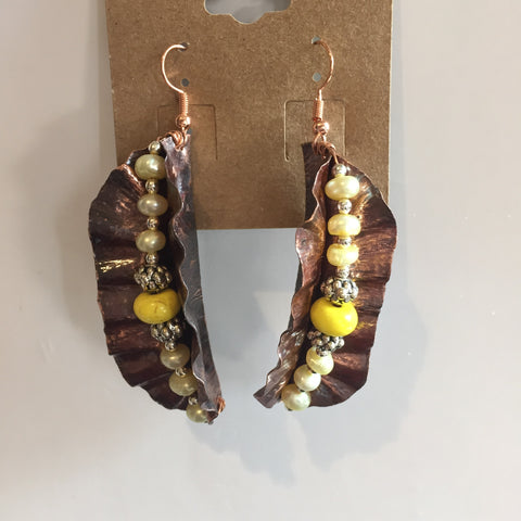 COPPER AND YELLOW BEADED EARRINGS
