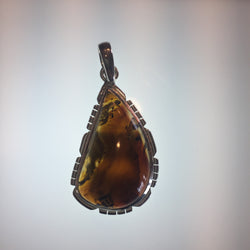 MONTANA AGATE PENDANT SET IN .925 SILVER