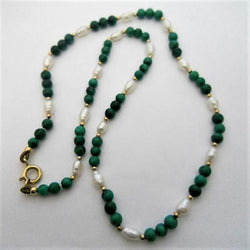 PEARL AND MALACHITE NECKLACE 4 MM 16""