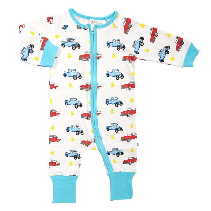 Vintage Cars Zipped Baby Grow