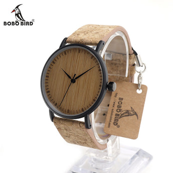 BOBO BIRD Bamboo Leather Watch