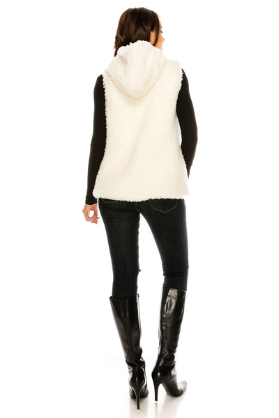 PC-106IV Reversible Super Soft And Cozy Faux Fur Vest With Hoodie