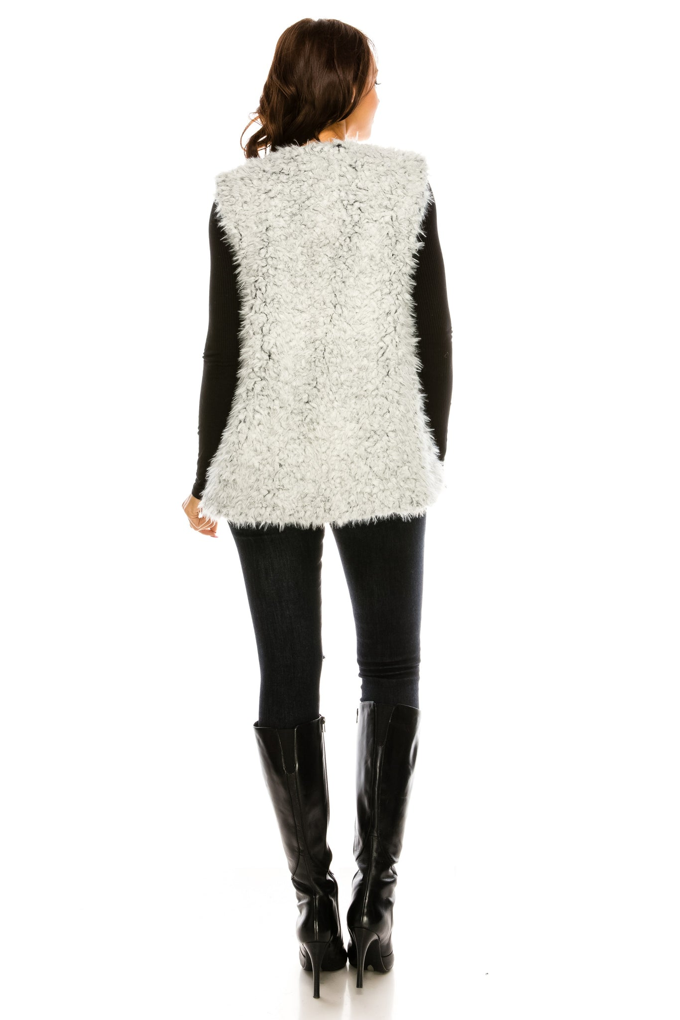 PC-102GY Two tone faux fur vest