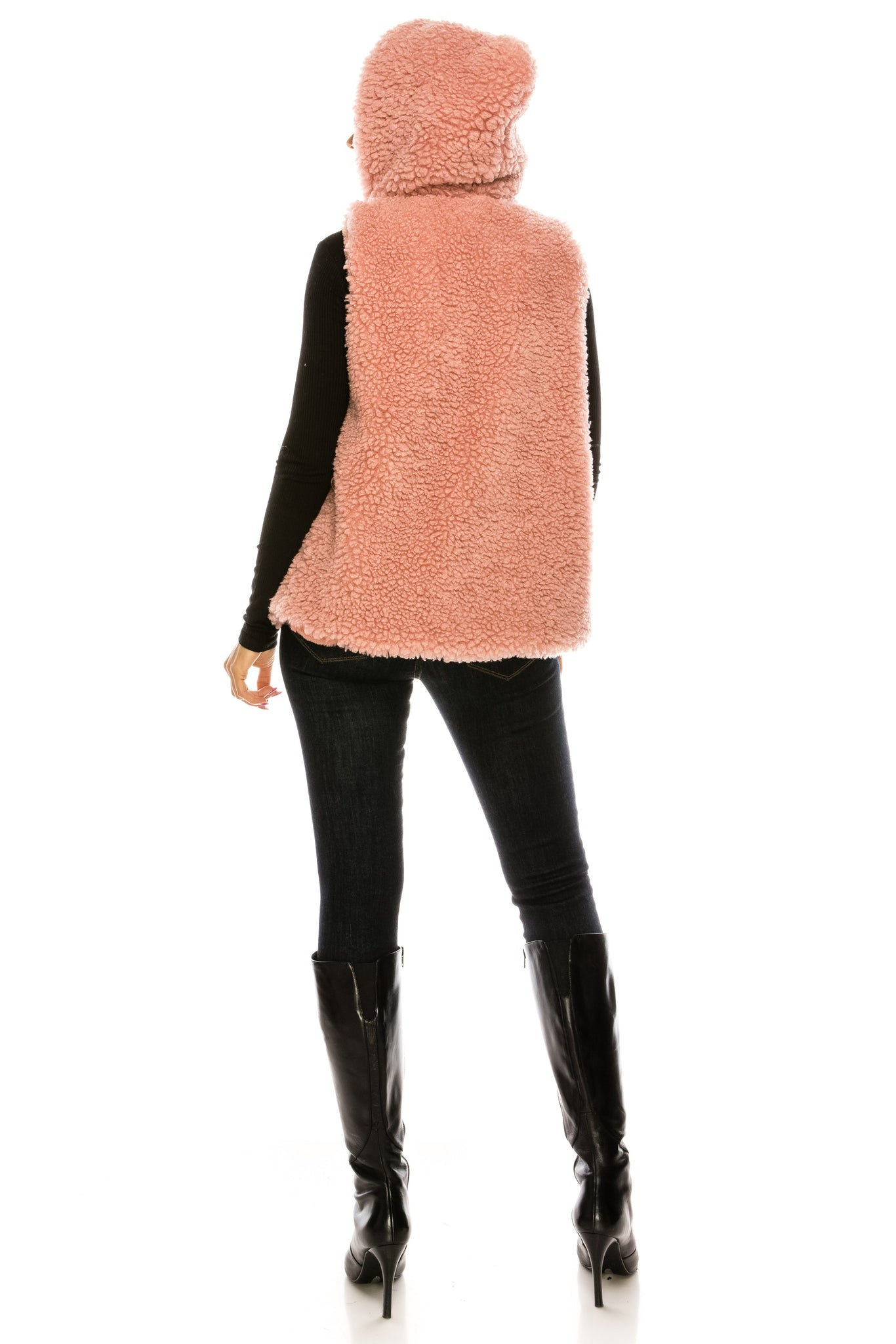 PC-106DP Faux Fur Vest With Hoodie