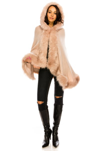 PC-047DP Knit cape featuring shaggy faux fur trim