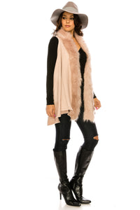 PC-098DP A knit vest with luxe faux fur trim, a hook-and eye front closure,and swing silhouette