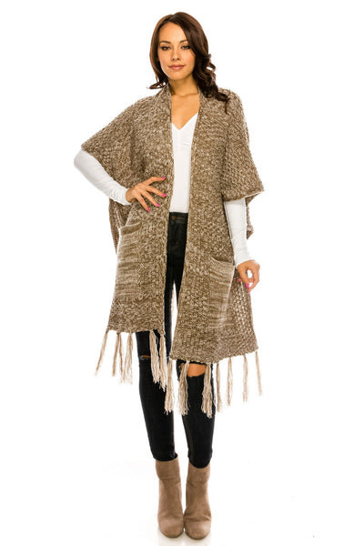 PC-084MO Knit loose fit two tone colors long cardigan