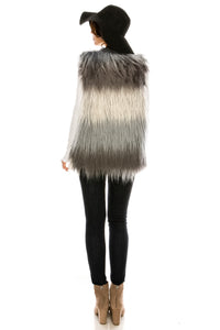 PC-110BK Two tone faux fur vest