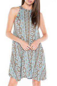 SD0037 Aztec Print Swing Dress Mint