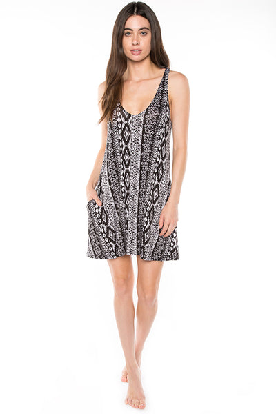 AD1061AZ Aztec Print Mini Dress with Pockets