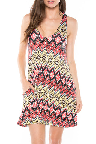 SD0037YL Aztec Print Swing Dress