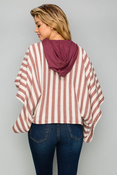 AT1161 Stripe Hoodie Top