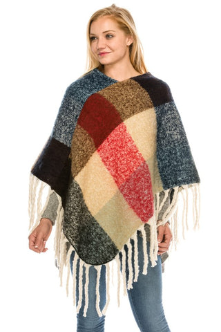 3820 Plaid Poncho With Fringe