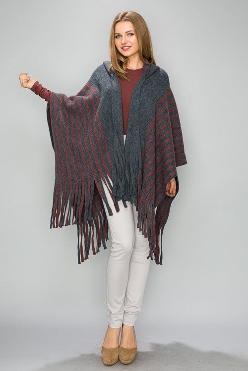 MT001 Stripe Hooded Poncho Cape