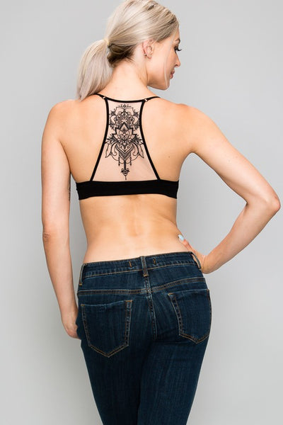 YL5330 Mesh Embroidered Detail Bralette