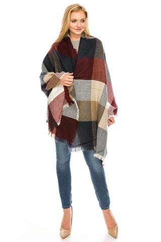 3722 Plaid Shawl