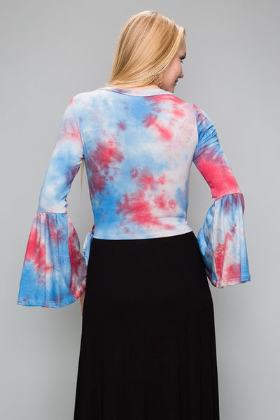 AT1172TD Tie Dye Pattern Bell Sleeve Wrap Crop Top With Tie