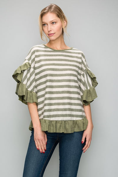 AT1159 Brushed Stripe Top With Solid Ruffle Detail