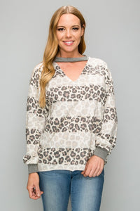 AT1156LP Leopard Pattern Cut Out Neck Line Top