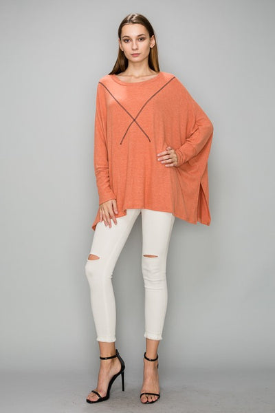 AT1141 Brushed Fabric Over Size Top