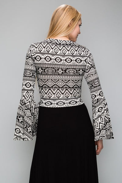AT1172BW Aztec Pattern Bell Sleeve Wrap Crop Top WithTie