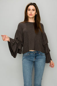AT1144 Brushed Ruffle Sleeve Top