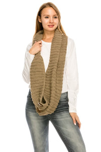 NK-2099 Coconut Button Detail Knit Infinity Scarf