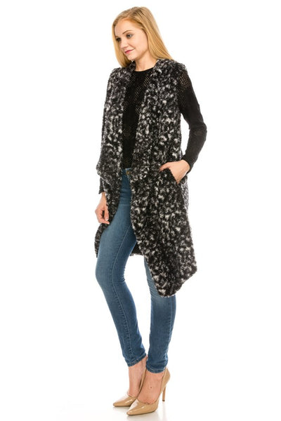 6046 Faux Fur Animal Pattern Vest