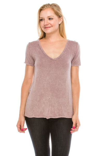 AT1075NW Acid Washed Vintage Super Soft V- Neck Top