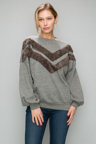 AT1168 French Terry Top With Faux Fur Detail