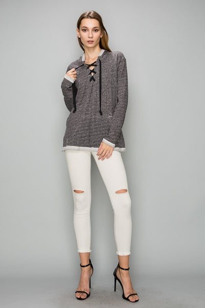 AT1139 French Terry Hoodie Sweat Shirts With Lace Up