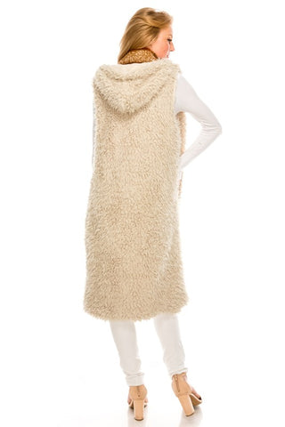 NS-131 Long Reversible Faux Fur Vest with Hoodie