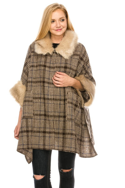 6042 Woven Plaid Cape With Faux Fur Detail
