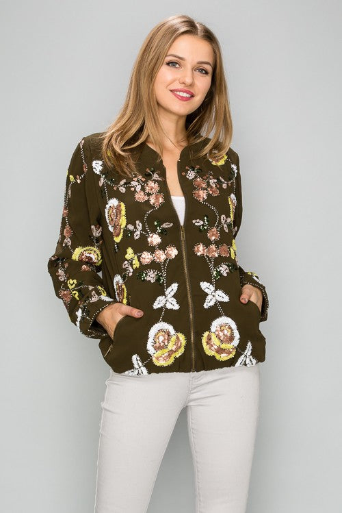IJ4012 Sequin flower detail bomber jacket